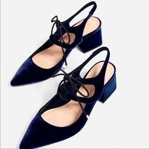 Zara velvet dark blue heels